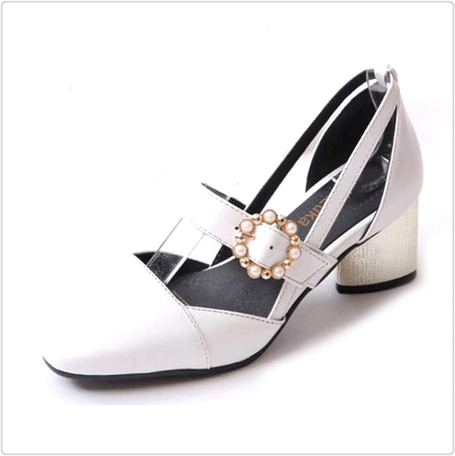 ZXCVB& Plus Size 32-45 LadiesHigh Heels Sandals Women Buckle String Bead Heel shoes Women's Fashion Office Daily Footwear White 10.5