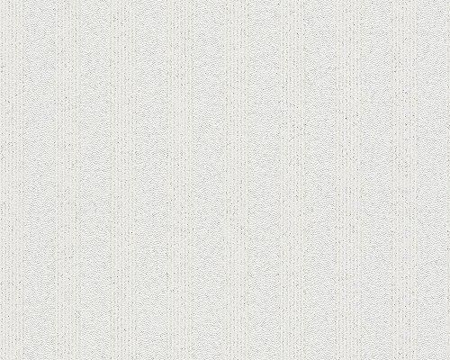 A.S. Création Vliestapete mit starkem Glitterauftrag Bling Bling Tapete Streifentapete 10,05 m x 0,53 m weiß Made in Germany 315113 3151-13