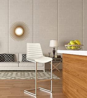 Strange DNA Buxton Stool | Elegant Design Stainless Steel Frame Bar Stool | Modern Flair Seat Furniture for Dining Room, Kitchen, Bars, Counter or More - Pu Ivory