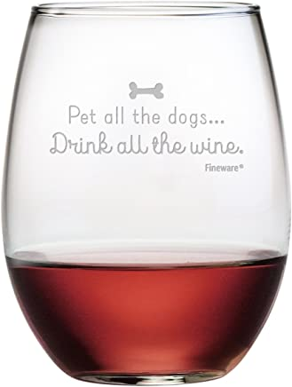 Fineware Funny Wine Glass - Pet All The Dogs Drink All The Wine - 15 Oz Stemless Wine Glass