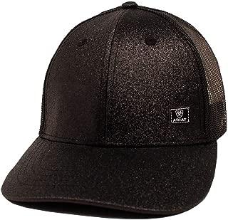 ARIAT Women's Offset Logo Glitter Messy Bun Snapback Cap