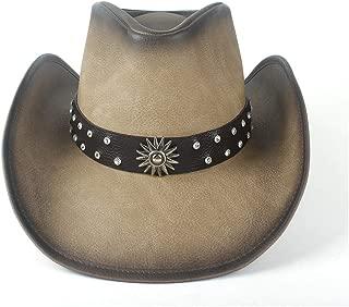 Lei Zhang Women Men Western Cowboy Hat With Punk Leather Ribbon Lady Dad Sombrero Cap