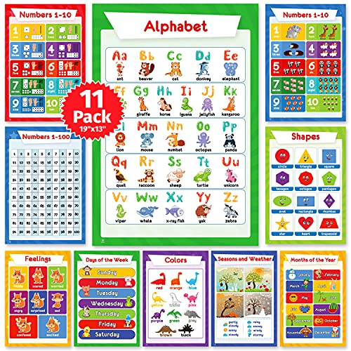 11 Educational Posters for Toddlers, Kids - Homeschool Supplies, Perfect for Children Preschool & Kindergarten Classroom Decorations: Alphabet ABC Poster, Numbers, Weather Chart, Shapes, Colors, 19x13