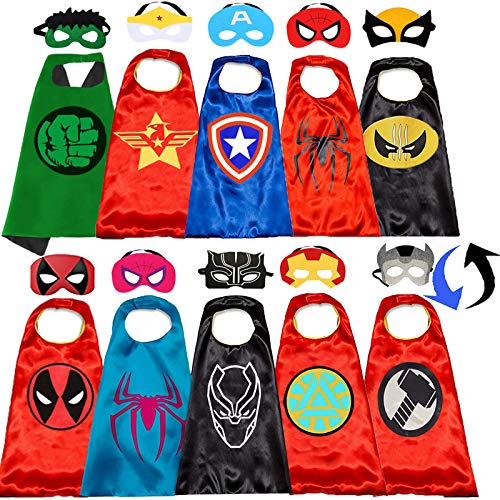 Superhero Capes and Masks for Kids Halloween Cosplay Double Side Capes Superhero Toy Kids Best Gifts (5PCS) Red