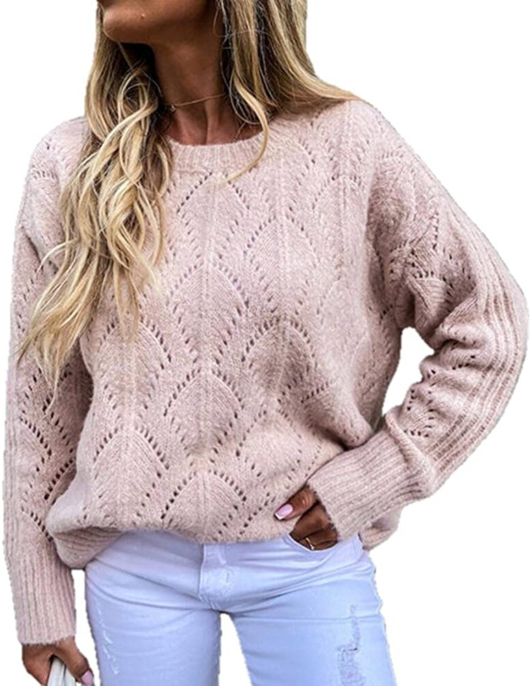 NP Autumn and Winter Hollow Sweater Round Neck Knitted Casual Long-Sleeved Loose