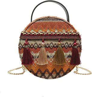 Wultia - Shoulder Bag Women Ins Super fire National Wind Portable Chain Small Round Bag Tassel Packet Female Fashion Versatile Bags #M08 Yellow