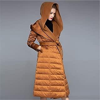 Women's Designer Warm Winter Hooded Down Jacket Long Coat Jacket Lady Fleece Lined Body Pockets