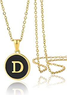 PEIYU Letter Pendant Necklace Mens Womens Capital Letter Black 18k Gold Plated A Z Stainless Steel Box Chain