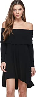 A+D Womens Off The Shoulder Dress - Tunic Long Sleeve Hi Low Hem