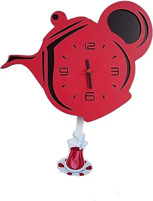 Teapot Wall Clock, 15 Inch Quality Quartz Battery Operated, Pendulum Wall Clock, Dekorative Clock