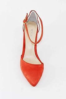 Bilekten Bantlı Yanı Açık Kalın Topuklu Turuncu Süet Stiletto Ayakkabı