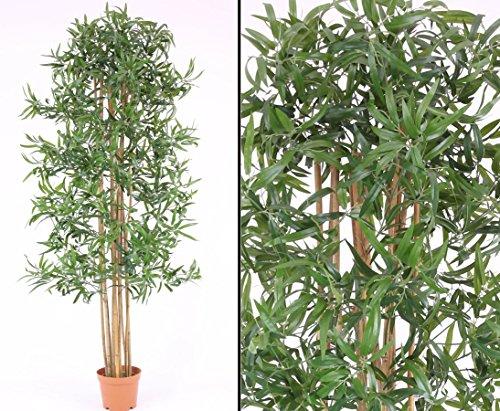 kunstpflanzen-discount.com Árbol de bambú, Multi Tronco con Olla, textilen Hojas, 180cm Artificial (Árbol Artificial Planta