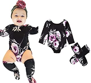 0-2T Baby Boy Girl Romper Floral Long Sleeve Romper Bodysuit Jumpsuit Purple Flower Romper with Leg Warmer Stockings