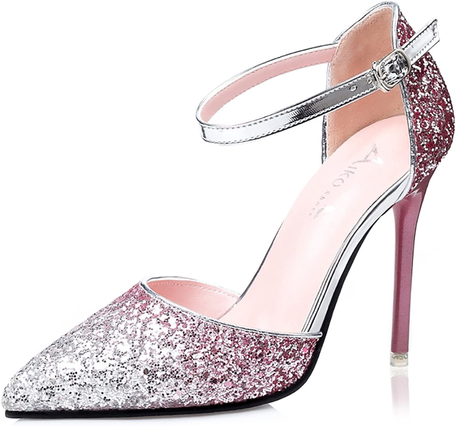 No.66 Town Women's Ankle Strap Pointed-Toe Sequins Sandal Pump