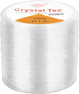 LUTER 1mm Clear Bead Cord Crystal Elastic Stretchy Bracelet String for Jewelry Making Necklace Bracelet Beading Thread (328ft)