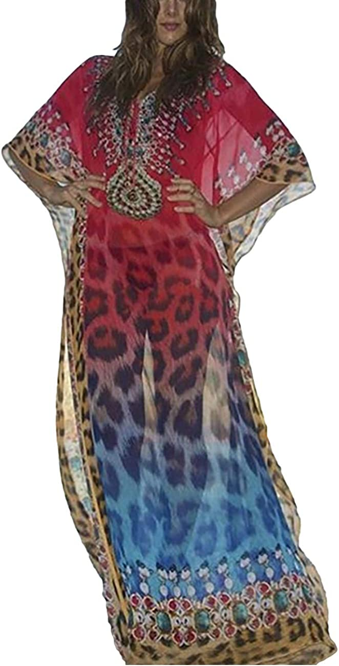 Bsubseach Women's Swimwear Turkish Kaftans Swimsuit Cover up Caftan Beach Long Dress