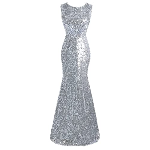 e168e6594d Topdress Women's Mermaid Long Bridesmaid Dress Sequins Wedding Party Prom  Gown