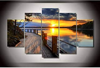 Painting children's room wall art decoration 5 pieces of natural landscape scenery sky canvas HD printing modular picture ...