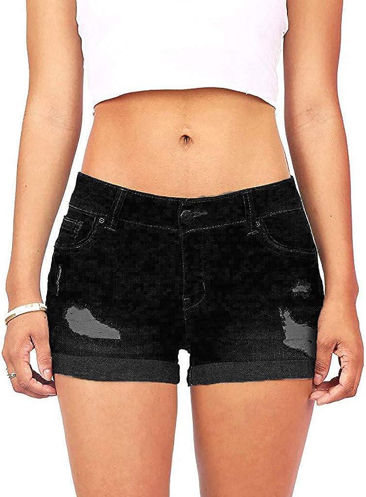 VEKDONE Women Juniors Ripped Denim Jean Shorts Stretchy Mid Rise Kardashian Bermuda Shorts Summer Beach Denim Shorts