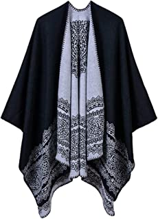 NJGV Women's Soft Women's Winter Cashmere Long Shawl Wrapped Scarf Ladies lace pattern catwalk show wear shawl split cloak