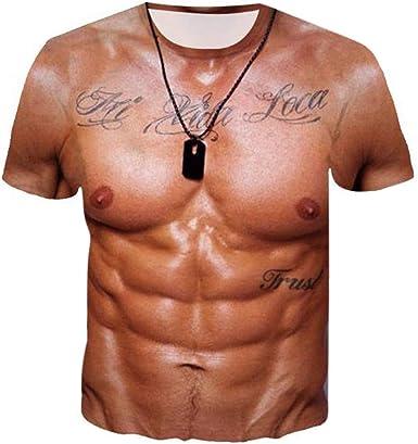 DOGZI Camiseta Estampada de Músculo 3D Camisa de Fiesta Partido Camisetas Hombre