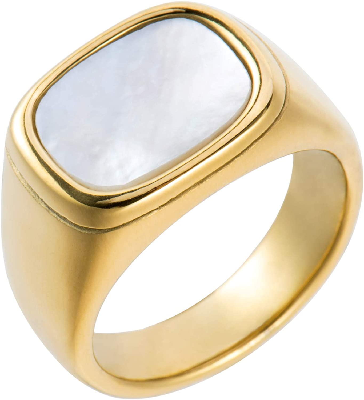 Aurelia Mae 18K Gold Plated Womens Gold Signet Ring Starburst Gold Signet Rings Star Minimalist Signet Ring Mother of Pearl Statement Signet Ring