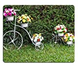 N\A (Almohadilla para Mouse con Borde de Bloqueo de precisión) Almohadilla para Mouse Almohadilla para Mouse para Juegos Inventor de Bicicletas Adornado con Hermosas Flores en la Hierba 300X150X3mm