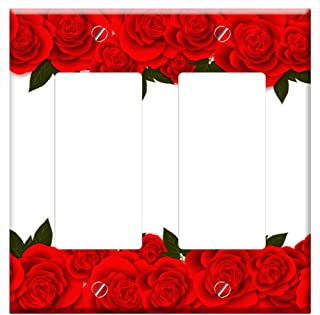 Switch Plate Double Rocker/GFCI - Roses Flowers Red Rose Banner Postcard For Web