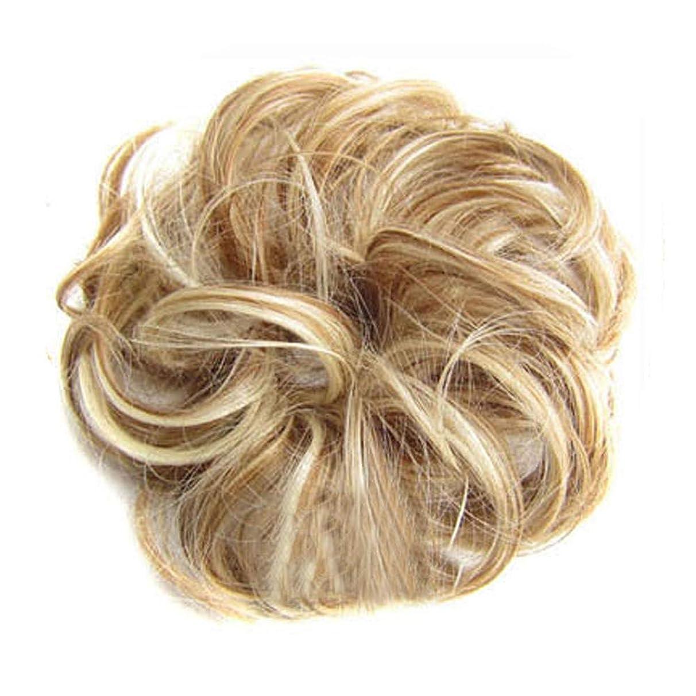 絶滅した不機嫌そうな不安定Merssavo 人間の髪のscrunchies、女性のためのカーリー乱雑なおだんごヘアエクステンション結婚式のヘアピース子供ヘアドーナツシニョン、2#