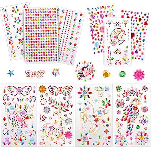 Sporgo selbstklebende Glitzer-Strasssteine, 10-Blatt-Acryl-Edelsteine zum Aufkleben für Kinder, Glitzersteine zum Basteln dekorativer Steine, Strasssteine mit Tiermotiven für Basteln Kinder