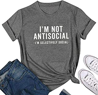 Women I am Selectively Social Letter Print Tops Round Neck Short Sleeve Tee Graphic Novelty T-Shirt