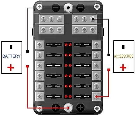 protection contre lhumidit/é pour 12V 24V Automobile Camion Bateau Bateau Marine Bus RV Van SDGDFXCHN Blocs de fusibles de coupe de bo/îte /à fusibles /à 6 voies avec indicateur davertissement /à DEL