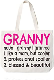 Granny Definition Canvas Tote Bag Grandma Gift Idea Book Bag