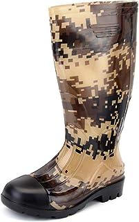 JOINFREE Men's Rain Shoes Mid High Calf Rubber Garden Shoes Outdoor Rain Footwear Work Boots