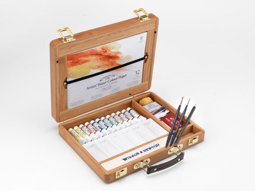 Winsor & Newton - Selección de 12 colores de agua, caja de bambú ...