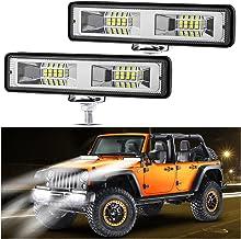 2 Pack Off Road LED Fog Light Bar Motorcycle Driving Pod Light 6 Inch 48W Car LED Fog Lights with Spot Flood Combo Beam fo...
