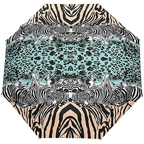 Leopard Zebra Print 3 Falten Auto Open Close Anti-UV-Regenschirm