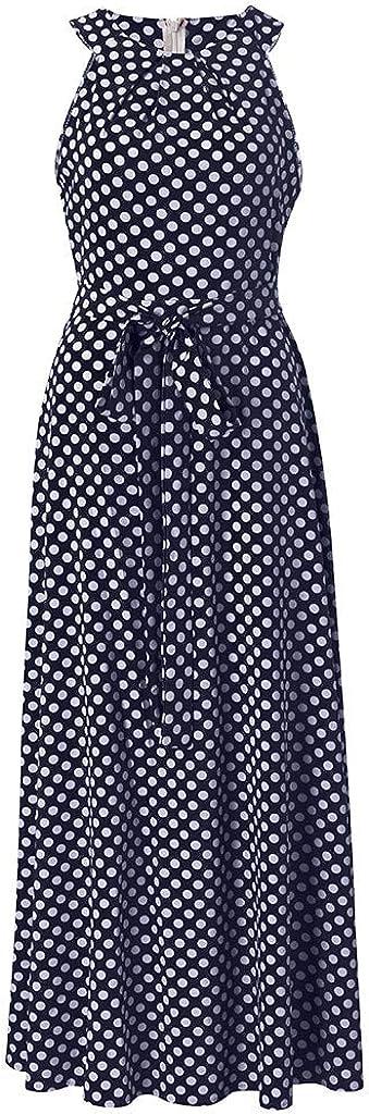 Portazai Women Fashion Dresses Sleeveless Dot Printed Party Maxi Dress Summer Casual Loose Halter Long Dress Sundress