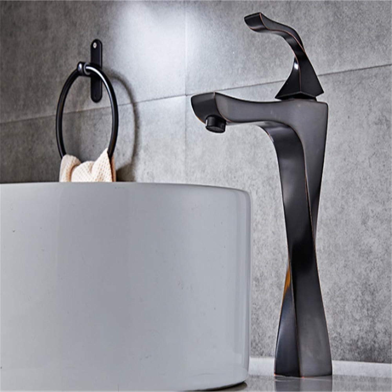 Antiker Messingbeckenhahnart- und weisebadezimmer-Bassinhahn, heier und kalter Wassermischbeckenhahn des Badezimmers schwarzer Hahn