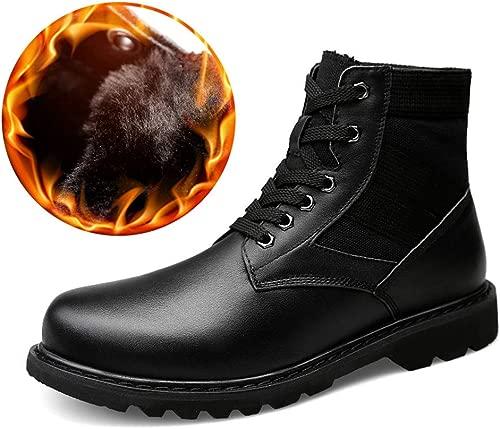 MIOHONG Herrenmode Stiefeletten Casual Heights Top Wasserdicht rutschfeste Laufsohle Stiefel (Warm Velvety Optional) (Farbe   Warm schwarz, Größe   44 EU)
