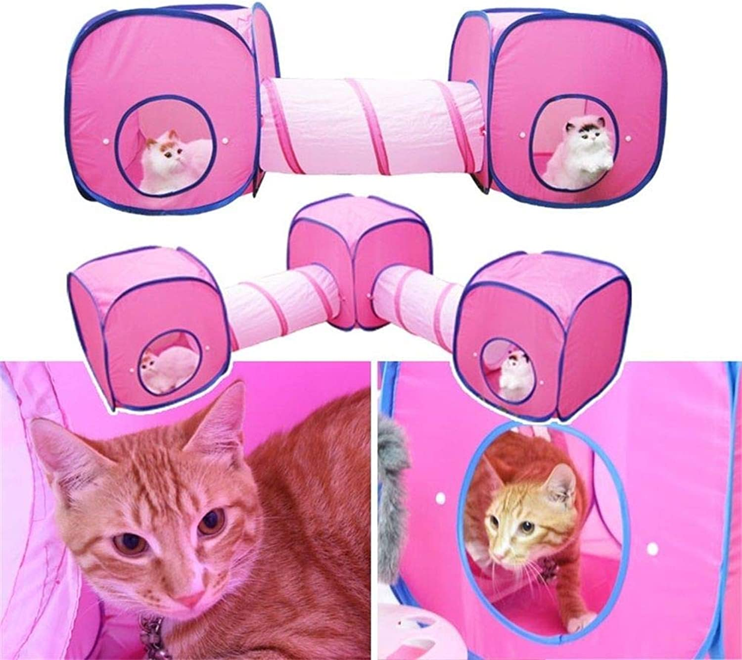 FidgetFidget Pet Foldable Play Cube Tent and Tunnel for Cat Kitty Rabbit 2 Cube Tents & 1 Tunnel