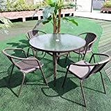 Warmiehomy Patio Table Chair Set Garden Backyard Coffee Table with 4pcs Garden Chair Set, Outdoor Dining Table Chair Set Sunloungers for Garden,Terrace (Brown, Ø105x72 Table+4pcs Chairs)