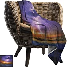 AndyTours Beach Blanket,Nature,Epic Thunder and The Storm on The Sea Wave Horizon Bad Weather Atmosphere, Purple and Orange,Cozy and Durable Fabric-Machine Washable 60