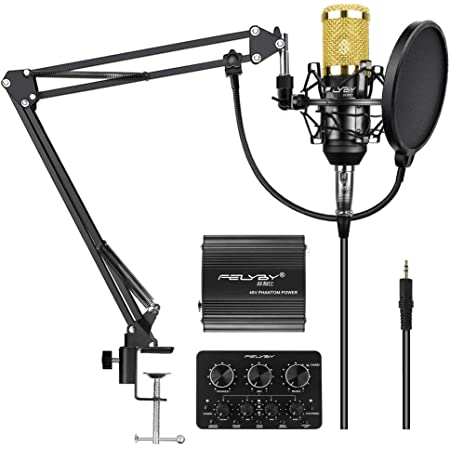 Amazon Com Felyby Professional Condenser Microphone Cardioid Recording Microphone Kit With Adjustable Suspension Scissor Boom Arm Live Sound Card Perfect For Youtube Video Conference Gaming Zoom Skype Home Audio Theater