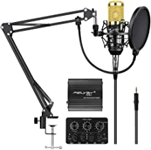 Professional BM-800   Cardioid Condenser Microphone Set with 6 Basic Accessories and A Mixer Sound Card,Luxury Kit (BM 800 black)