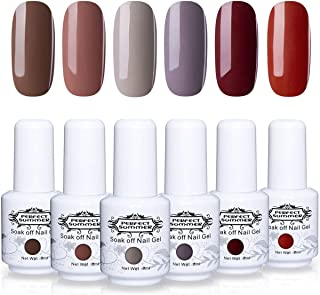 Perfect Summer Gel Nail Polish Set Autumn Winter Series Color - 6PCS Trend Colors Varnish Semi-permanent Soak Off UV LED Manicure Deep Brown Nail Gel Kit Gift Set 8ML
