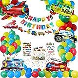 Gafild Anniversaire Décorations Jouets Ballons,Ballons de Voiture Anniversaire Bannière Véhicules de Transport Aluminium Ballons Avion Train Voiture de Police Yacht Camion de Pompier pour Garçon Fille