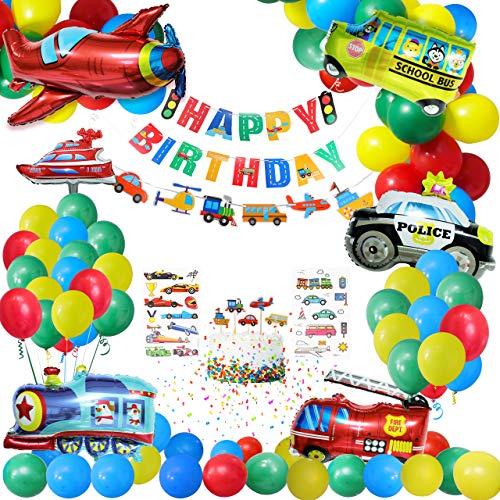 Gafild Partyballons gesetzt,Geburtstagsdeko Luftballon Folien Ballon Flugzeug Zug Polizeiwagen Schulbus Yacht Feuerwehrauto Ballons Happy Birthday Banner Kuchendeckel für Kinder Baby Junge Party