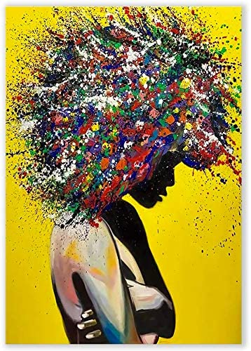 Pixz zazz Large African American Wall Art Young Woman Vibrant Graffiti Design African Pictures product image