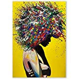 Pixz-zazz Large African American Wall Art - Young Woman Vibrant Graffiti Design - African Pictures for Wall Decor - Black Woman Painting - Canvas Art African - Wall Art Decor Framed on Cotton Canvas and Ready to Hang for Living Room Dining Room Bedroom Bathroom Office (20 x 28 inches)
